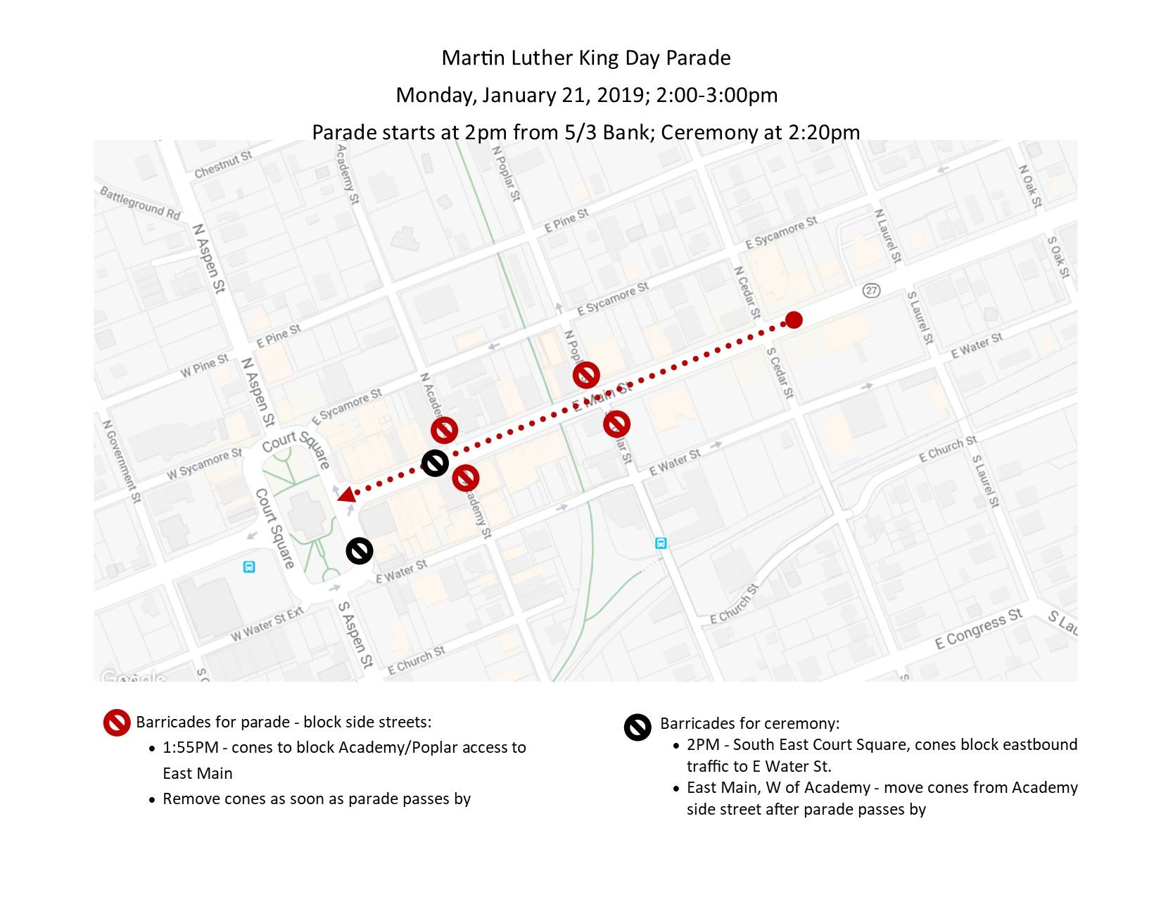 2019 MLK parade map