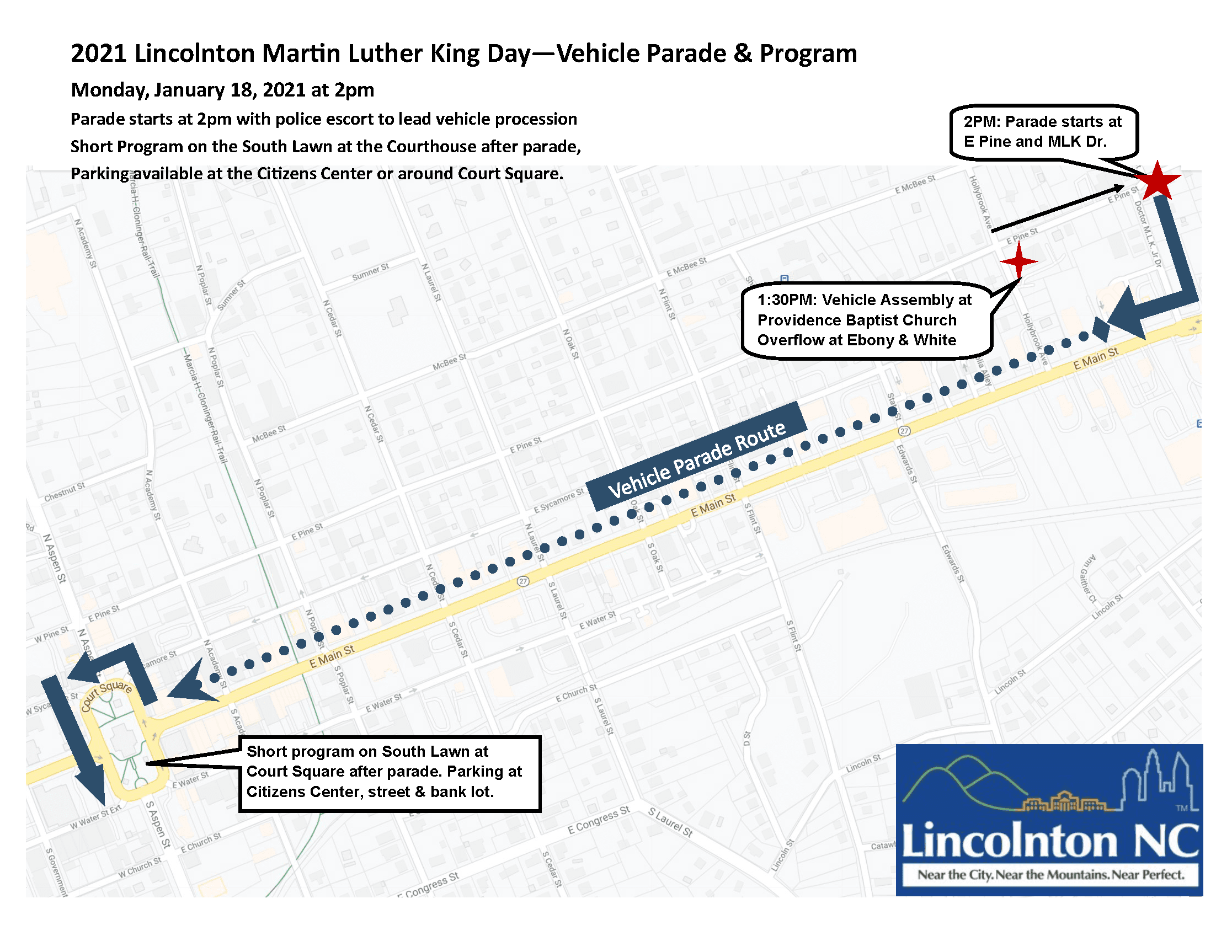 2021 MLK Vehicle Parade Map