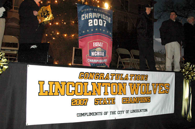 A celbration for the Lincolnton Wolve State Champi